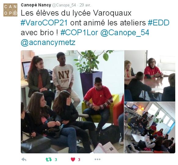 Des lycéens animent les ateliers de la COP1 de l'académie de Nancy-Metz