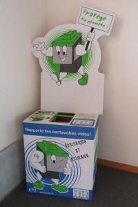 Collecteur pour les cartouches d'imprimantes usagées.