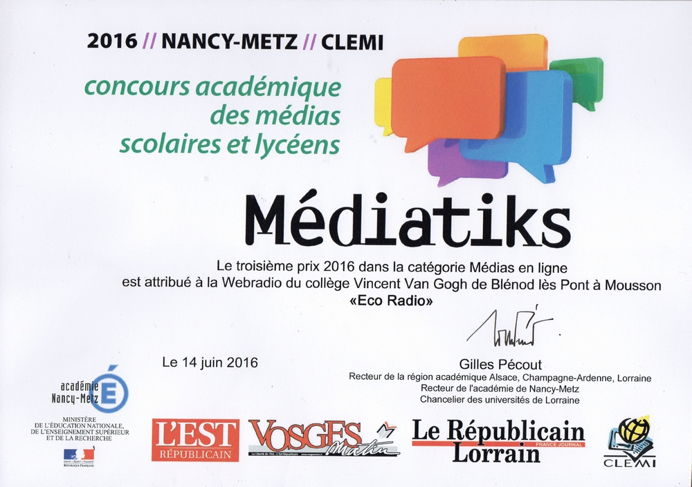 Eco Radio primée au concours Médiatiks