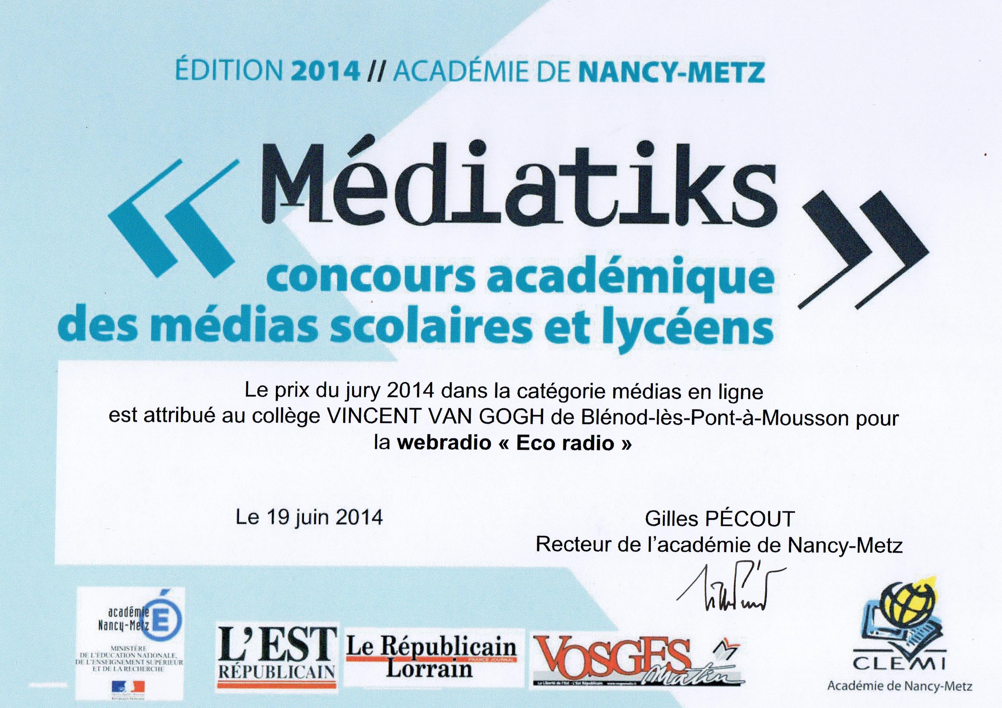 Diplôme du prix du médias en ligne du concours Médiatiks 2014 qui récompense le travail d'une centaine d'élèves