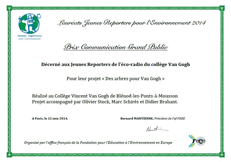 """Diplôme du prix de la communication au grand public du concours """"Jeunes Reporters pour l'Environnement"""" 2014"""
