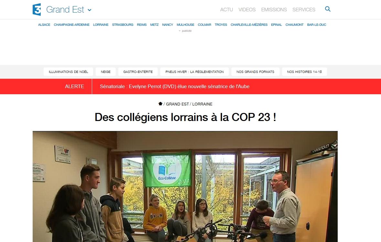 Reportage diffusé sur France3 Lorraine dans le 19/20 le lundi 13 novembre 2017
