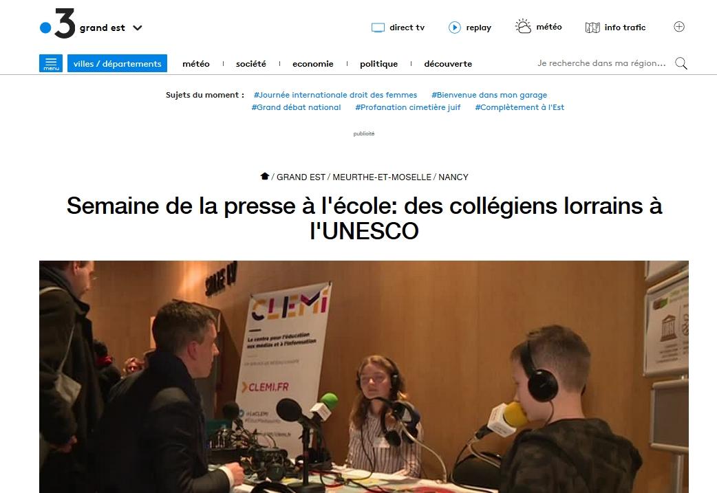 Reportage de France3 Lorraine réalisé le 11 mars 2019 à la maison de l'UNESCO