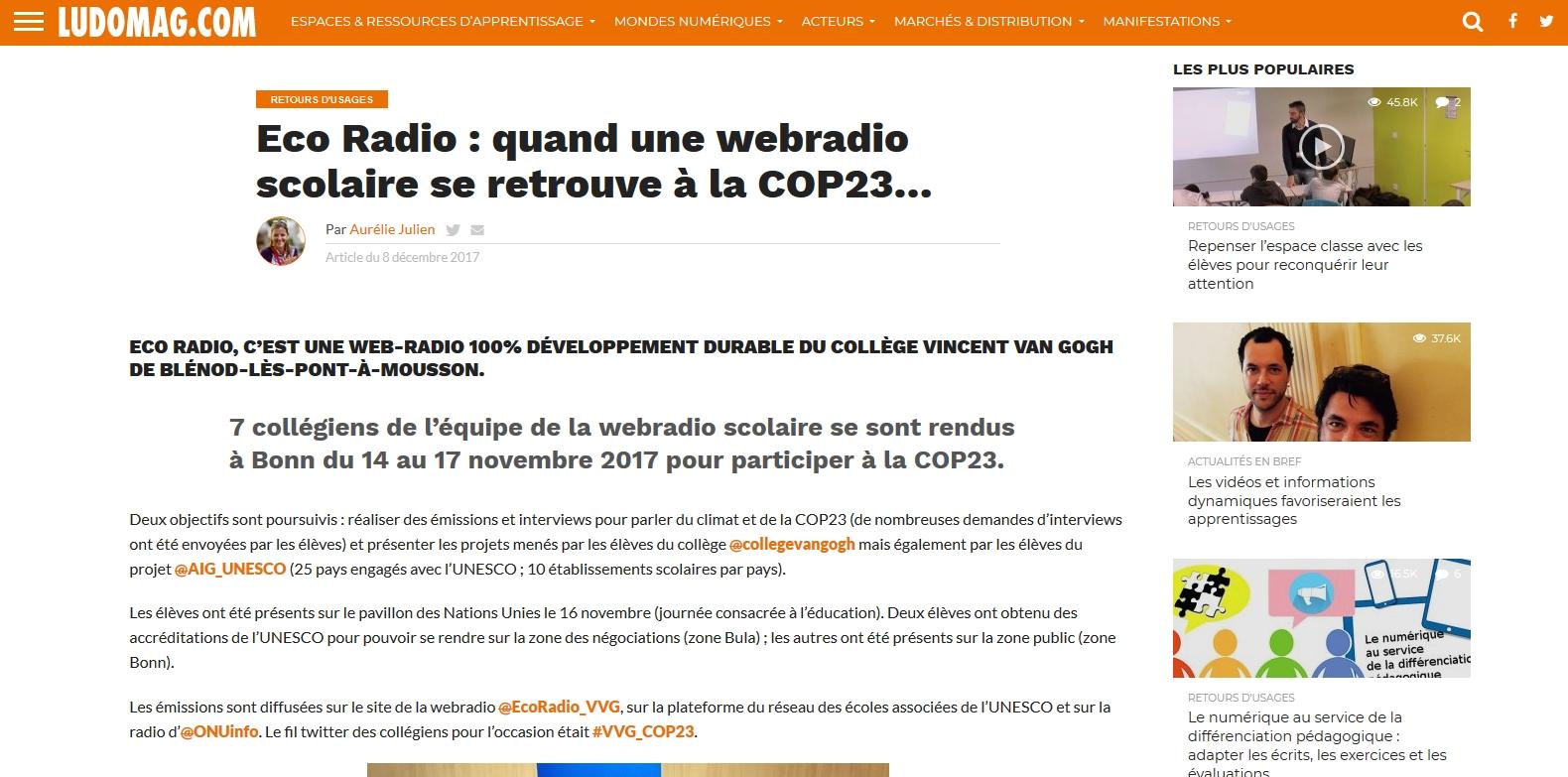 Article paru dans LUDOMAG le 8 décembre 2017 suite à la présence d'Eco Radio à la COP23