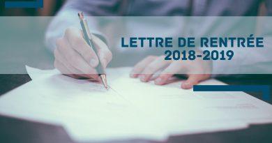 Lettre de rentrée 2018-2019