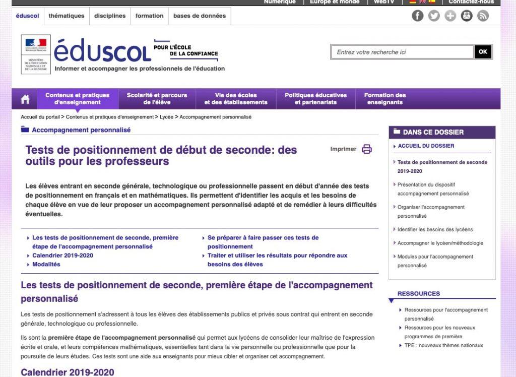 Rentree 2019 Test De Positionnement En Francais En Seconde Professionnelle Lettres Histoire Et Geographie En Lycee Professionnel Academie De Nancy Metz